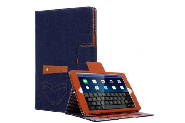 """Чехол-обложка для ipad pro 9.7"""" синий из настоящей джинсы с кармашком для iphone"""