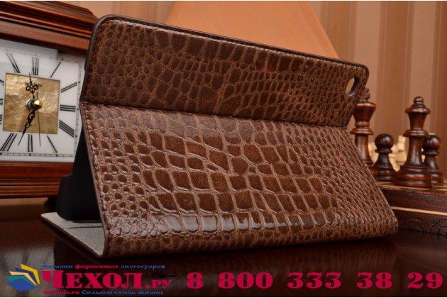Чехол для ipad mini 4 лаковая кожа крокодила коричневый