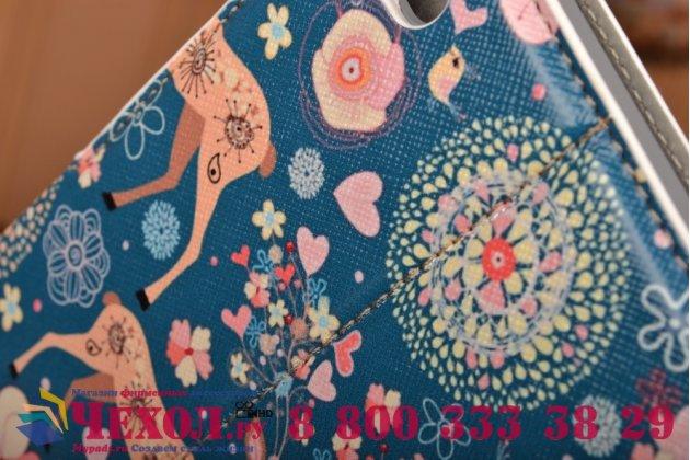 Чехол-обложка с безумно красивым расписным рисунком оленя в цветах для планшета  ipad mini 4  кожаный