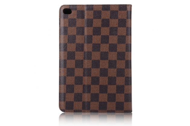 Чехол-обложка для ipad mini 4 в клетку коричневый кожаный