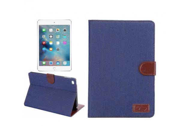 Чехол-обложка с визитницей и застежкой для ipad mini 4 синий из настоящей джинсы