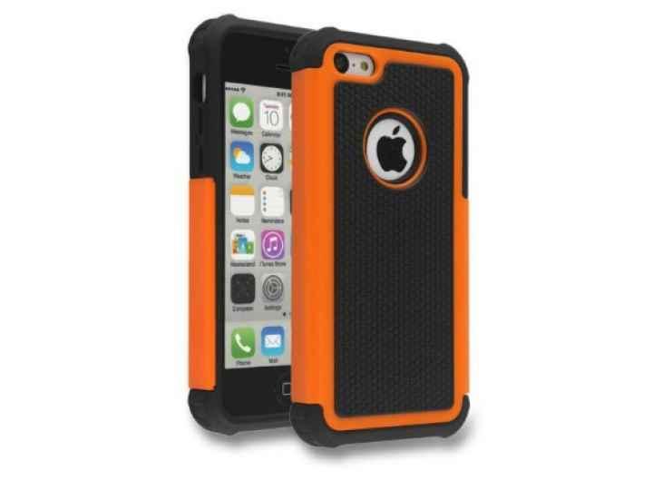 Противоударный усиленный ударопрочный чехол-бампер-пенал для iphone 5/5s/se/5se оранжевый..