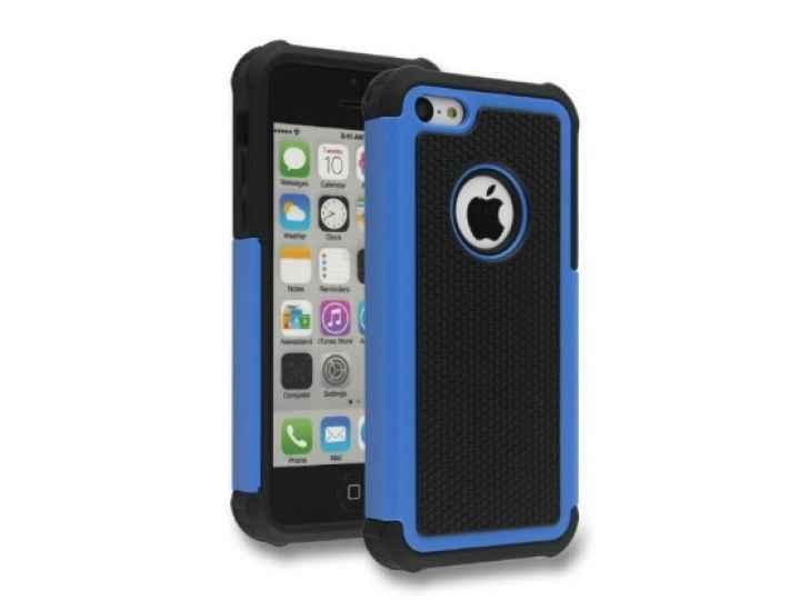 Противоударный усиленный ударопрочный чехол-бампер-пенал для iphone 5/5s/se/5se синий..