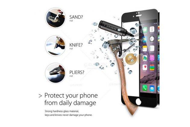 3d защитное стекло которое полностью закрывает экран / дисплей по краям с олеофобным покрытием для iphone 6s plus черного цвета