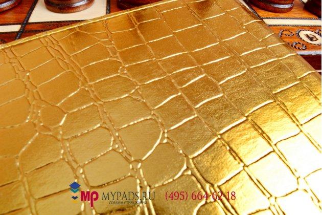 Чехол для айпад эйр 2 кожа крокодила золотой. только в нашем магазине. количество ограничено.