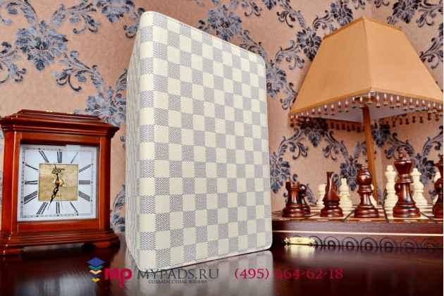 Чехол-обложка для ipad air 2 в клетку белый кожаный