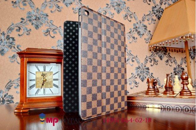 Чехол-обложка для ipad air 2 в клетку коричнеый кожаный