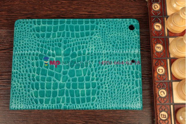 Чехол с мульти-подставкой для ipad air 1 лаковая кожа крокодила цвет морского бриза бирюзовый