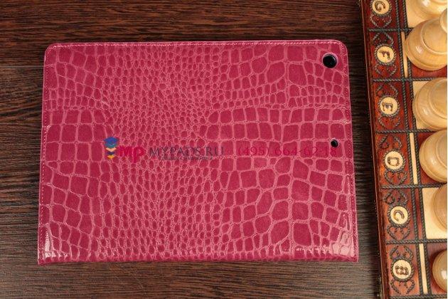 Лаковая блестящая кожа под крокодила чехол для ipad air цвета фуксии малиновый