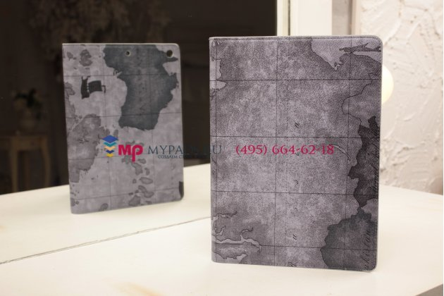 """Чехол для ipad air с рисунком """"тематика карта мира"""" кожаный серый"""