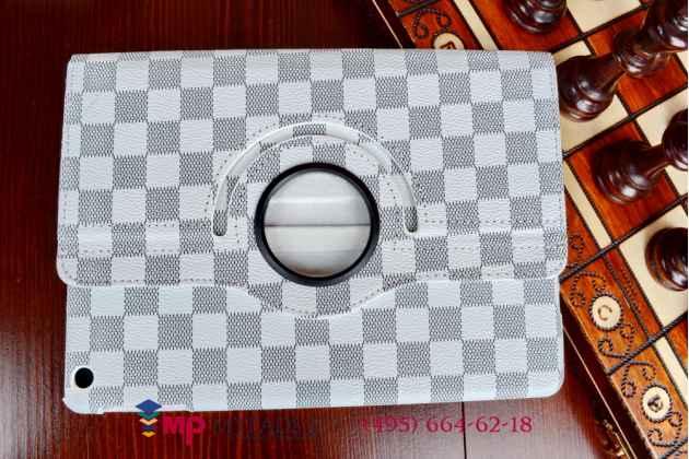 Чехол-обложка для ipad air в клетку белый кожаный