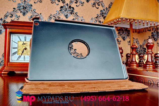 Чехол-обложка для ipad air в клетку коричнеый кожаный