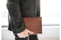 Фирменный чехол бизнес класса для iPad Pro 10.5 с визитницей и держателем для руки коричневый натуральная кожа Prestige Италия