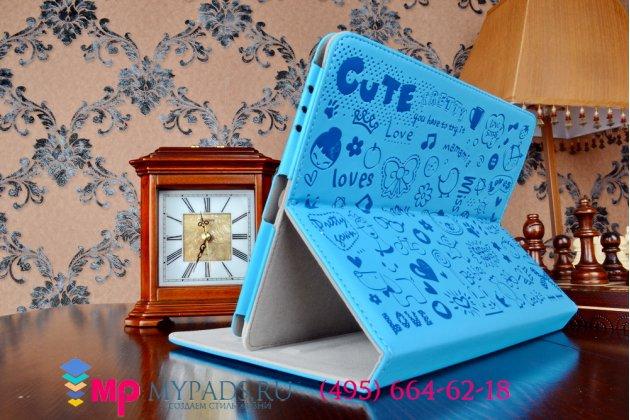"""Чехол-футляр для ipad 1 го поколения """"тематика pretty cute"""" голубой кожаный"""