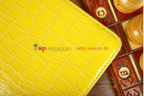 Чехол для apple ipad 2/3/4 поворотный роторный оборотный кожа крокодила желтый