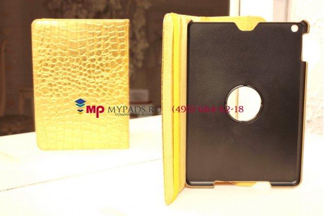 Эксклюзивный чехол для apple ipad air 1 кожа крокодила золотой. только в нашем магазине. количество ограничено