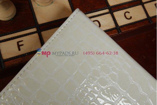 Чехол-книжка с мульти-подставкой для ipad air 1 лаковая кожа крокодила молочный белый