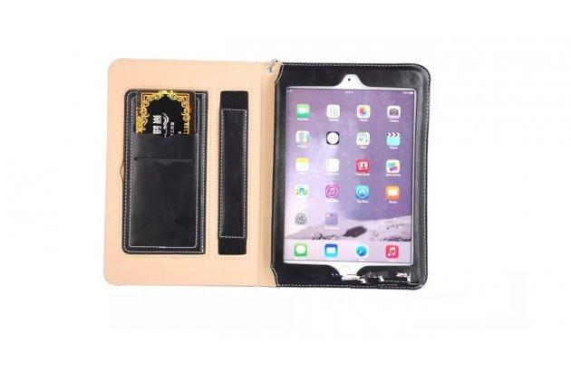 """Чехол бизнес класса для ipad mini 2 retina/ipad mini 3 с визитницей и держателем для руки черный натуральная кожа """"prestige"""" италия"""