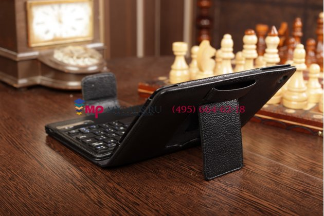 Чехол со съёмной bluetooth-клавиатурой для apple ipad mini 2 with retina display/ ipad mini 3 черный кожаный + гарантия