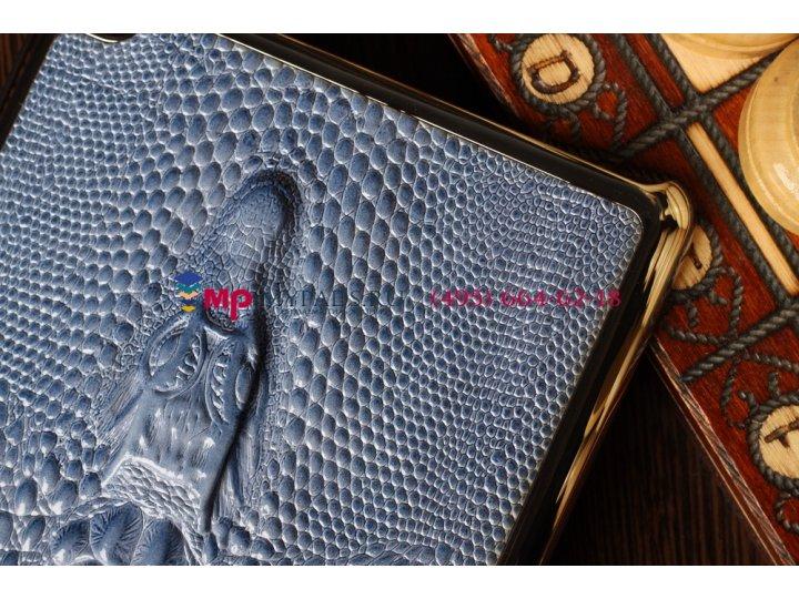 Задняя панель-крышка для ipad mini кожа крокодила голубой..