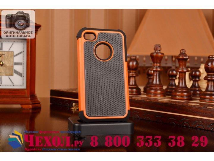 Противоударный усиленный ударопрочный чехол-бампер-пенал для iphone 4/4s оранжевый..