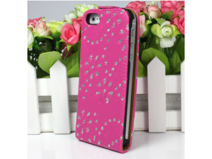 Вертикальный откидной чехол-флип для iphone 4s розовый с блестками..
