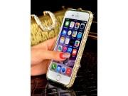 Фирменный роскошный ультра-тонкий чехол-бампер безумно красивый декорированный кристаликами для iPhone 5 / 5S/..