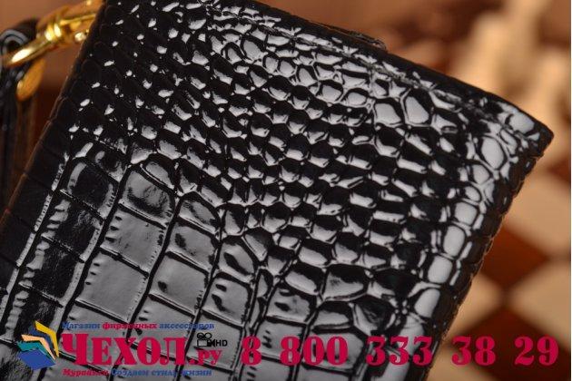 Роскошный эксклюзивный чехол-клатч/портмоне/сумочка/кошелек из лаковой кожи крокодила для телефона ark benefit m503. только в нашем магазине. количество ограничено