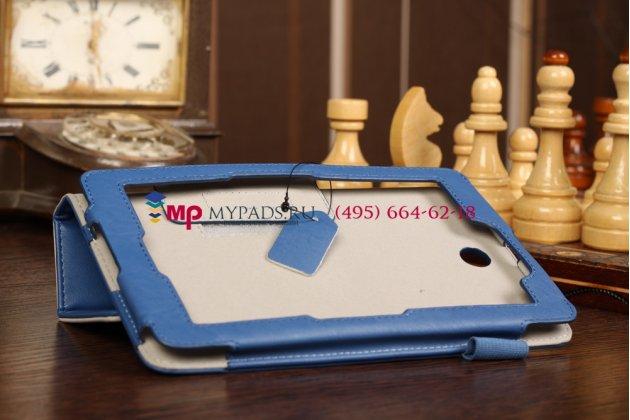 """Чехол-обложка для asus fonepad me371mg с визитницей и держателем для руки синий кожаный """"prestige"""" италия"""
