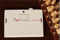 """Чехол-обложка для Asus MeMo Pad Smart ME301T/ME301TG с визитницей и держателем для руки белый кожаный """"Prestige"""" Италия"""