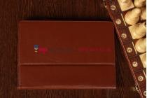 """Чехол-обложка для Asus MeMo Pad Smart ME301T/ME301TG с визитницей и держателем для руки коричневый кожаный """"Prestige"""""""