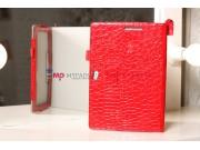 Фирменный чехол-обложка для Asus VivoTab Smart ME400C/ME400CL кожа крокодила алый огненный красный..