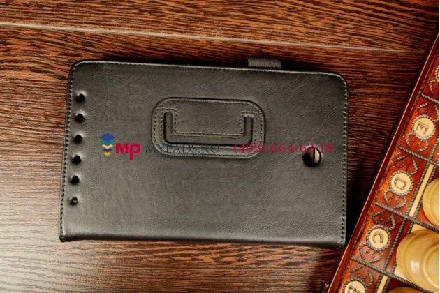 """Чехол-обложка для asus memo pad hd 7 me173x с визитницей и держателем для руки черный натуральная кожа """"prestige"""" италия"""