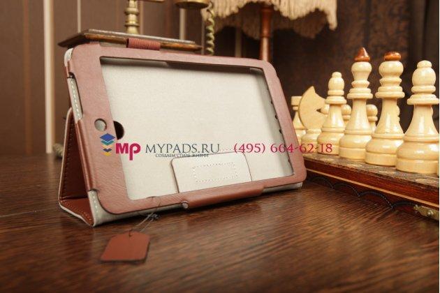 """Чехол-обложка для asus memo pad hd 7 me173x с визитницей и держателем для руки коричневый натуральная кожа """"prestige"""" италия"""
