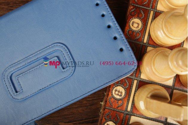 """Чехол-обложка для asus memo pad hd 7 me173x с визитницей и держателем для руки синий натуральная кожа """"prestige"""" италия"""