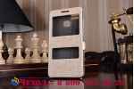 """Чехол-книжка для asus zenfone 3 zoom ze553kl 5.5"""" золотой с окошком для входящих вызовов и свайпом водоотталкивающий"""