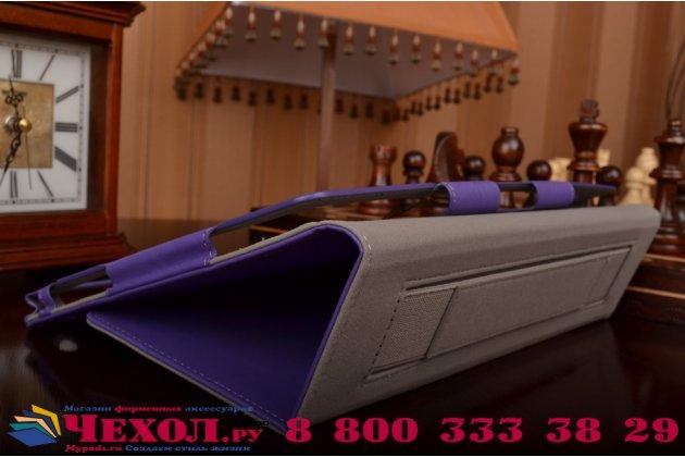 """Чехол бизнес класса для asus zenpad 10 z300cg/z300cl/z300c/z300m с визитницей и держателем для руки фиолетовый натуральная кожа """"prestige"""" италия"""