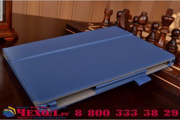 "Чехол бизнес класса для asus zenpad 10 z300cg/z300cl/z300c/z300m с визитницей и держателем для руки синий натуральная кожа ""prestige"" италия"
