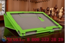 """Фирменный чехол бизнес класса для ASUS ZenPad 10 Z300CG/Z300CL/Z300C/Z300M с визитницей и держателем для руки зеленый натуральная кожа """"Prestige"""" Италия"""