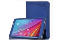 """Фирменный чехол закрытого типа с красивым узором для планшета ASUS ZenPad 10 Z300CG/Z300CL/Z300C/ZD300CL/Z300M с держателем для руки голубой натуральная кожа """"Prestige"""" Италия"""