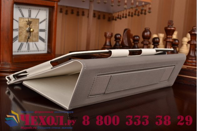 "Чехол бизнес класса для asus zenpad 10 z300cg/z300cl/z300c/z300m с визитницей и держателем для руки белый натуральная кожа ""prestige"" италия"