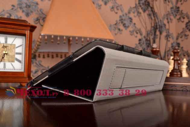 """Чехол обложка для asus zenpad 10 z300cg/z300cl/z300c/z300m с визитницей и держателем для руки черный натуральная кожа """"prestige"""" италия"""
