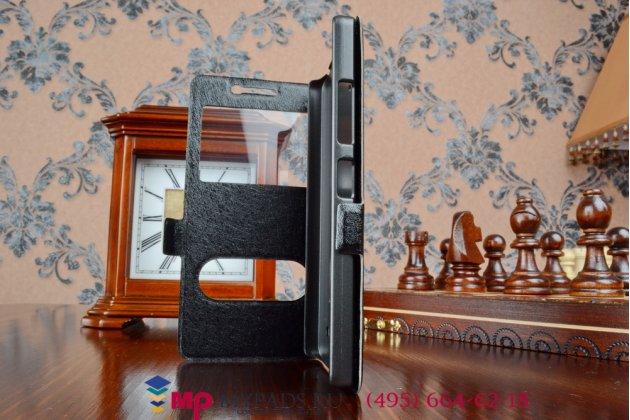 Чехол-книжка для lenovo k3/k30/a6000/a6010 plus черный кожаный с окошком для входящих вызовов и свайпом