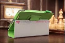 """Чехол-обложка для asus fonepad me371mg с визитницей и держателем для руки зеленый кожаный """"prestige"""" италия"""