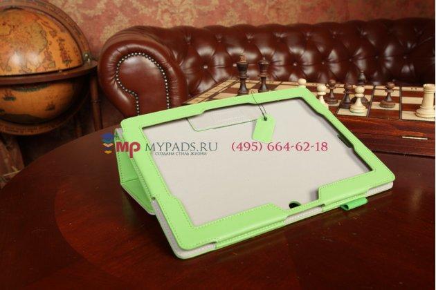 """Чехол для asus memo pad fhd 10 me302kl lte с визитницей и держателем для руки зеленый натуральная кожа """"prestige"""" италия"""