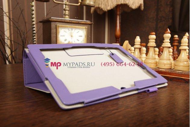"""Чехол-обложка для asus memo pad fhd 10me302kl lte с визитницей и держателем для руки фиолетовый натуральная кожа """"prestige"""" италия"""