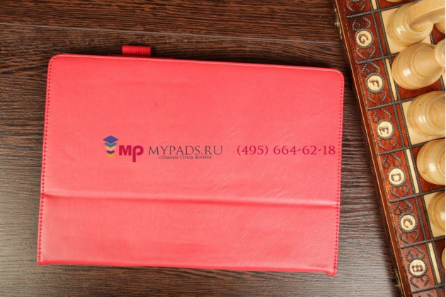 """Чехол-обложка для asus memo pad fhd 10 me302kl lte с визитницей и держателем для руки красный натуральная кожа """"prestige"""" италия"""