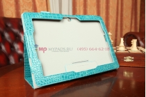 Фирменный чехол-книжка для Asus MeMO Pad FHD 10 ME302KL Model K005 лаковая кожа крокодила цвет морской волны бирюзовый