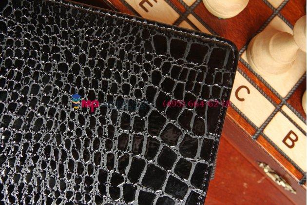 Лаковая блестящая кожа под крокодила чехол-книжка для asus memo pad fhd 10 me302kl lte model k005 черный