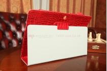 Фирменный чехол-футляр для Asus MeMO Pad FHD 10 ME302KL Model K005 лаковая кожа крокодила алый огненный красный